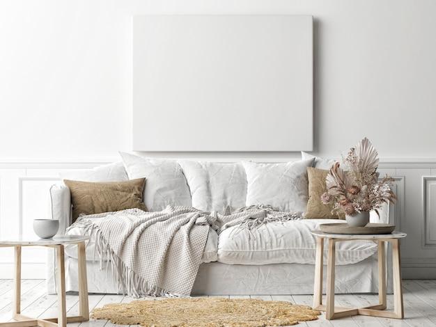 Modellplakatrahmen an der wand, ein weißes sofa im skandinavischen wohnzimmer, 3d-darstellung, 3d-illustration