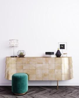 Modellplakatrahmen im modernen innenhintergrund, skandinavischer stil, 3d-darstellung, 3d-illustration