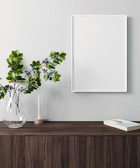 Modellplakatrahmen im modernen innenhintergrund, skandinavischer stil, 3d-rendering, 3d-illustration