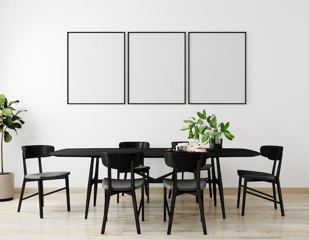 Modellplakatrahmen im modernen innenhintergrund, wohnzimmer, skandinavischer stil, 3d-render, 3d-illustration
