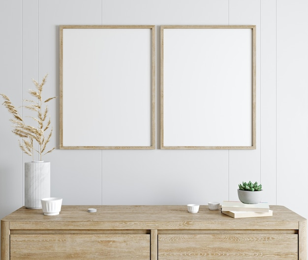Modellplakatrahmen im modernen innenraum mit weißer wand und holzkonsole, hauptinnenraum mit pflanze, 3d-darstellung