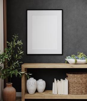 Modellplakatrahmen im modernen schwarzen innenhintergrund mit dekoration und pflanze