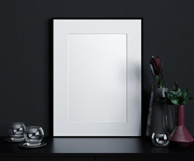 Modellplakatrahmen im modernen schwarzen innenhintergrund, skandinavischer stil, 3d-rendering, 3d-illustration
