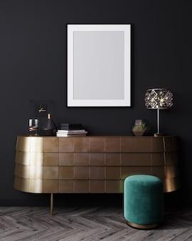 Modellplakatrahmen in schwarzem innenhintergrund, luxuriöses modernes dunkles wohnzimmerinnenraum, 3d-darstellung