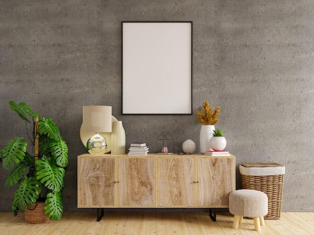 Modellrahmen auf schrank im wohnzimmerinnenraum auf leerer betonwandfläche