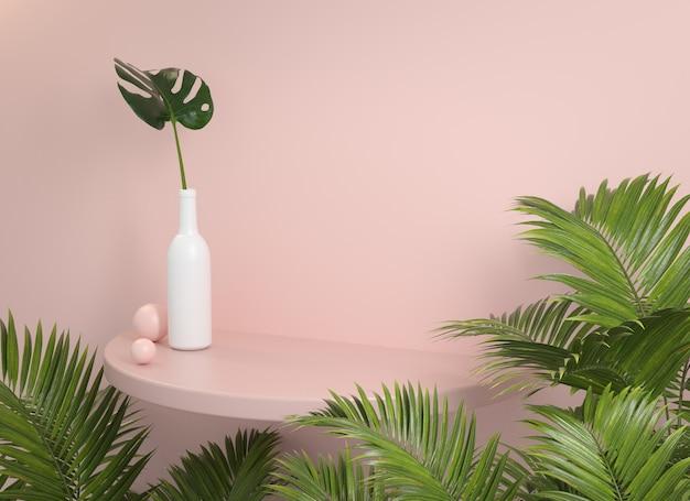 Modellregal mit pastellwand und palmblatt 3d rendern