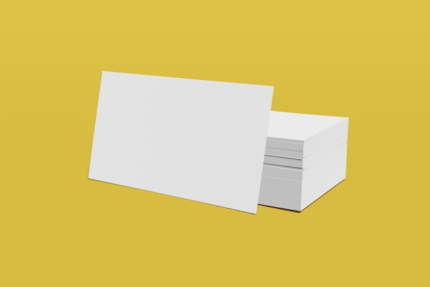 Modellstapel des leeren geschäfts oder der visitenkarte auf einem gelben hintergrund. 3d-rendering