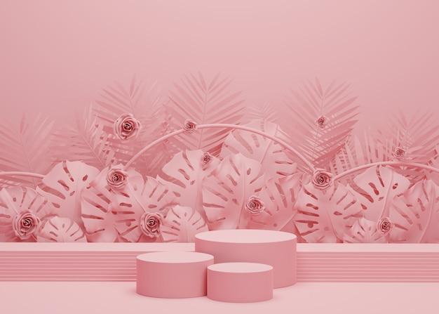 Modenschau-bühnenpodest mit tropischen palmblättern und monstera-pflanze. leere szene für produktshow. sommerzeit hintergrund
