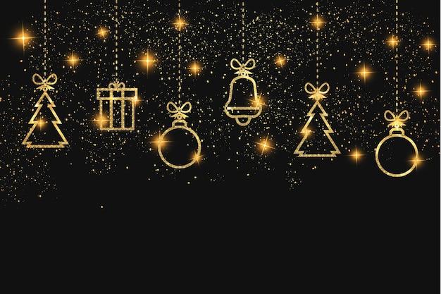 Moder weihnachtstapete mit goldenen weihnachtssymbolen