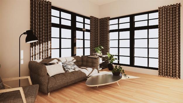 Moderne art des wohnzimmers mit weißer wand auf bretterboden und sofasessel auf teppich. 3d-rendering
