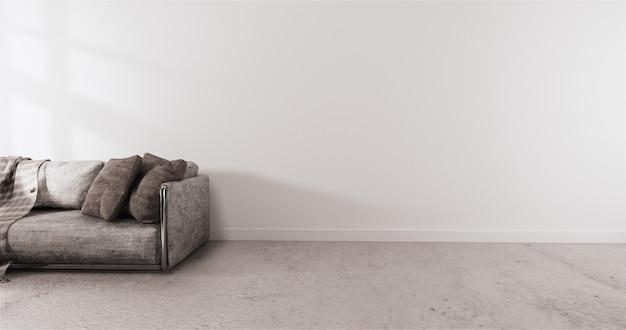Moderne art mit weißer wand auf bretterboden und sofasessel auf teppich