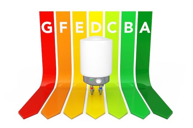 Moderne automatische warmwasserbereiter über energieeffizienz-rating-diagramm auf weißem hintergrund. 3d-rendering.