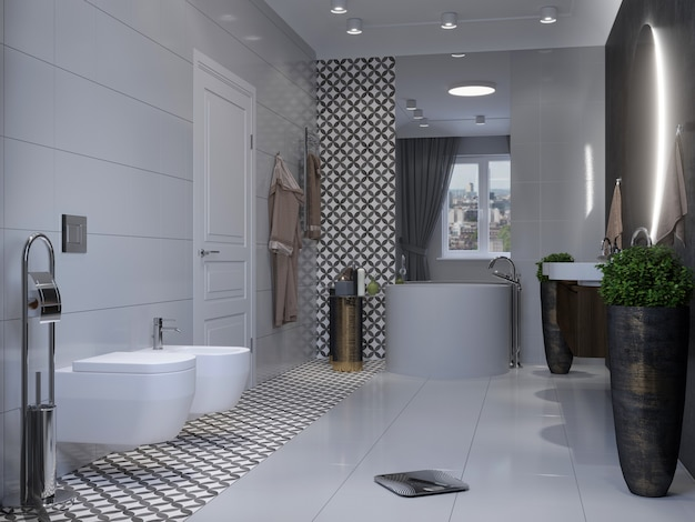 Moderne badezimmereinrichtung. 3d-rendering-modell.