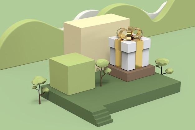 Moderne bühnenshowkosmetik-hautpflegeproduktgeschenksätze mit thema grünem natürlichem minimalem lowpoly geometrischem quadratischem formschritt