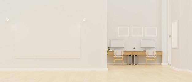 Moderne büroeinrichtung mit großem posterrahmenmodell an der wand zur anzeige ihres kunstwerks 3d-rendering