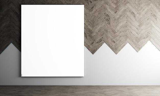 Moderne dekoration leinwand rahmen modell innenarchitektur von wohnzimmer und holzwand muster hintergrund, 3d-rendering