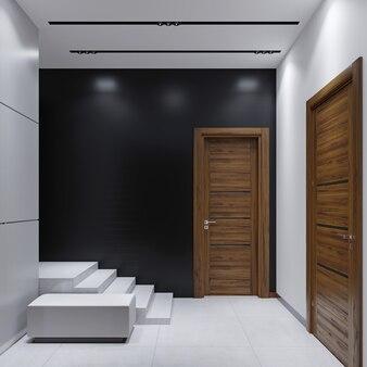 Moderne eingangshalle im minimalistischen stil. 3d-rendering.