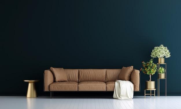 Moderne einrichtung und wohnzimmereinrichtung und möbel verspotten und blauer wandtexturhintergrund
