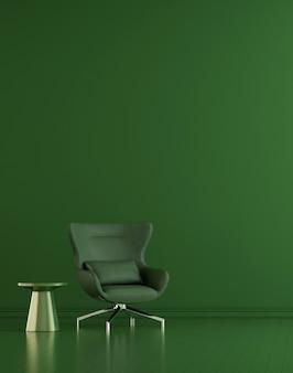 Moderne einrichtung und wohnzimmereinrichtung und möbel verspotten und grüner wandtexturhintergrund