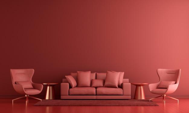 Moderne einrichtung und wohnzimmereinrichtung und möbel verspotten und roter wandbeschaffenheitshintergrund