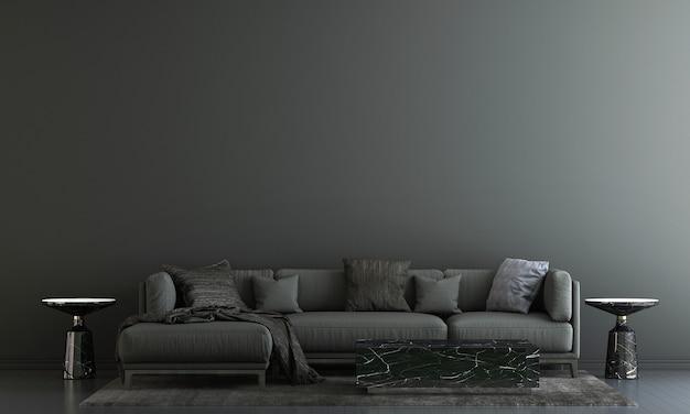 Moderne einrichtung und wohnzimmereinrichtung und möbel verspotten und schwarzer wandtexturhintergrund