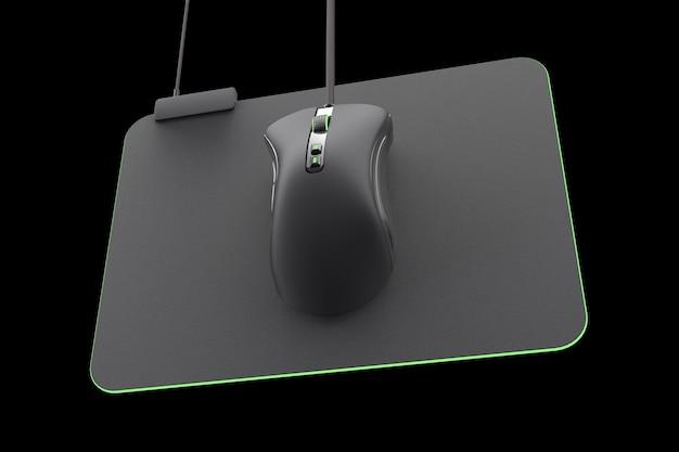 Moderne gaming-maus auf professionellem pad auf schwarzem hintergrund mit beschneidungspfad