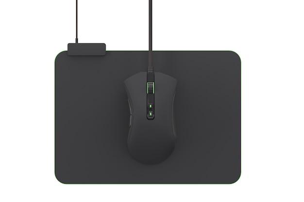 Moderne gaming-maus auf professionellem pad auf weißem hintergrund mit beschneidungspfad