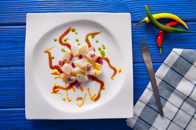 Moderne gastronomische art des ceviche-rezeptes