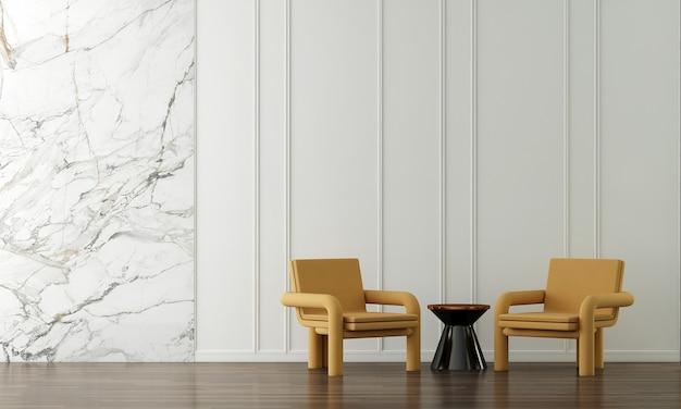 Moderne gelbe sesseldekoration und wohnzimmerinnenraum und leerer wandmusterhintergrund