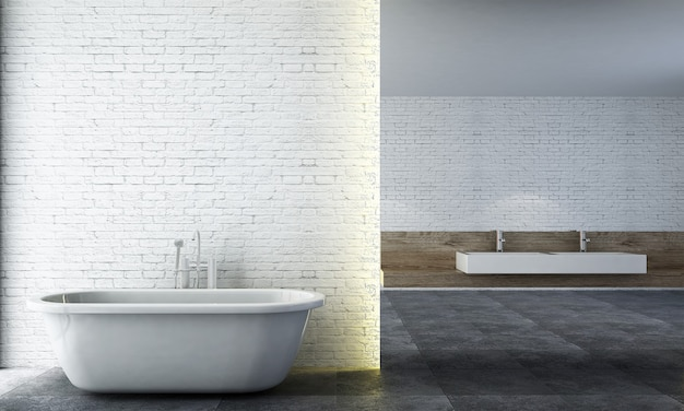 Moderne gemütliche badezimmereinrichtung und möbeldekoration und weißer backsteinmauermusterhintergrund