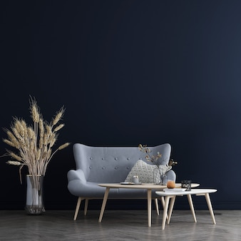 Moderne gemütliche mock-up-dekor-innenarchitektur des wohnzimmers und des blauen wandbeschaffenheitshintergrunds