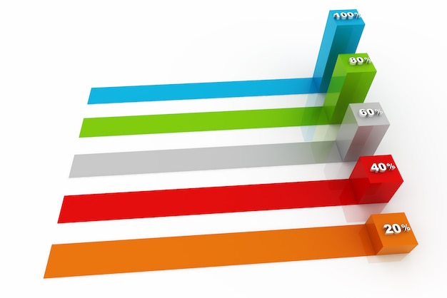 Moderne geschäftsschritte zu erfolgsdiagrammen und diagrammwahlfahnen