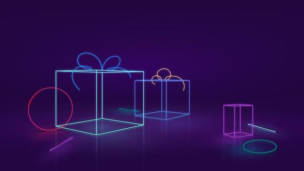 Moderne geschenkboxen mit neon- oder led-effekt