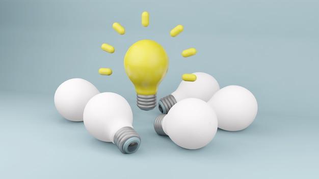 Moderne glühbirnen für ideenkonzept