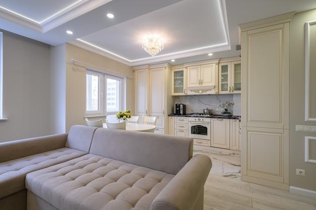 Moderne große luxuriöse küche und esszimmer im studio-apartment