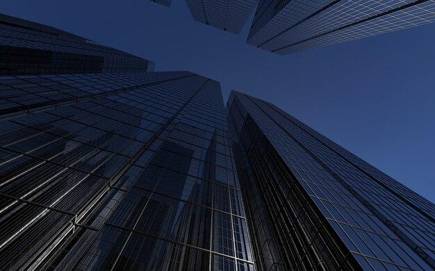Moderne hochhäuser gegen das himmelsthema geschäftserfolg und technologie