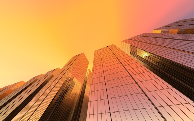 Moderne hochhäuser gegen den roten himmel. 3d-illustration zum thema geschäftserfolg und technologie