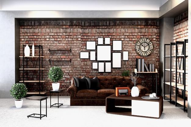 Moderne innenarchitektur im loft-stil. 3d-rendering