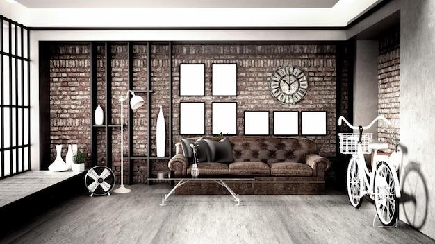 Moderne innenarchitektur im loft-stil