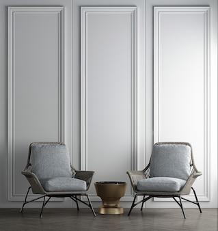 Moderne innenausstattung und dekorationsmöbel des wohnzimmers und weißer wandtexturhintergrund