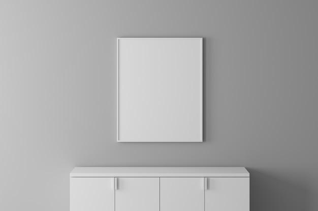 Moderne innenwand-schriftartansicht mit leerem rahmen und kabinett für gesetztes material oder bild. minimales konzept