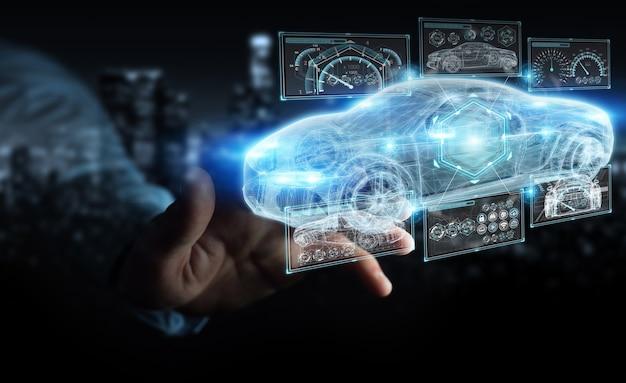 Moderne intelligente autoschnittstelle des geschäftsmannes
