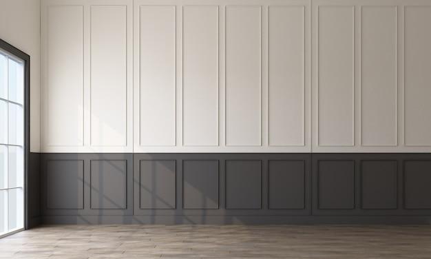 Moderne klassische musterwanddekoration und woodern boden 3d rendering