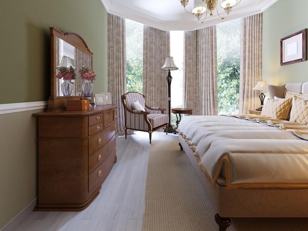 Moderne klassische traditionelle schlafzimmer-innenarchitektur mit olivgrünen wänden, eleganten möbeln und bettwäsche. 3d-rendering