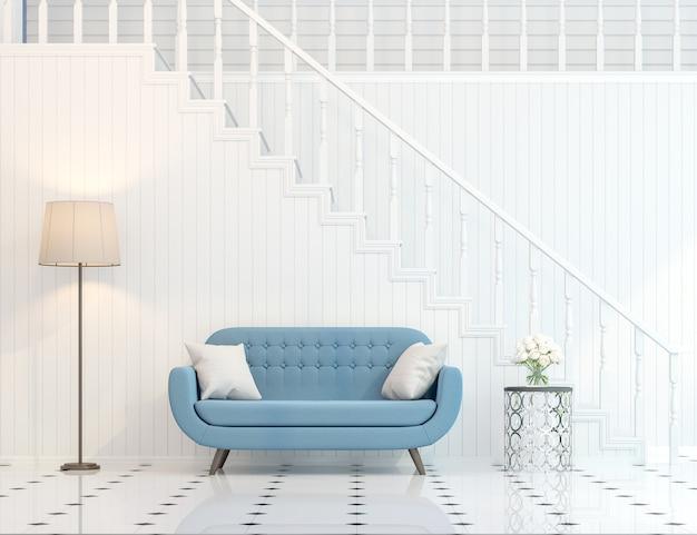Moderne klassische treppenhalle 3d-rendering mit blauen möbeln eingerichtet