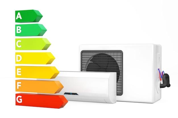 Moderne klimaanlage in der nähe der energieeffizienz-bewertungstabelle auf weißem hintergrund. 3d-rendering.