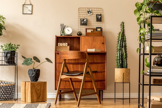 Moderne komposition des innenministeriums stilvolles vintage-konzept der wohnkulturschablone