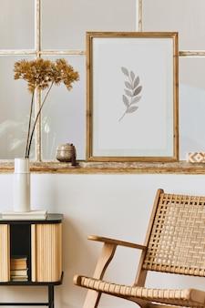 Moderne komposition des wohnzimmerinterieurs mit designsesselvorlage