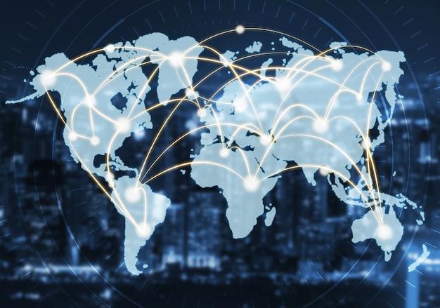 Moderne kreative kommunikation und internet-netzwerk verbinden sich in smart city