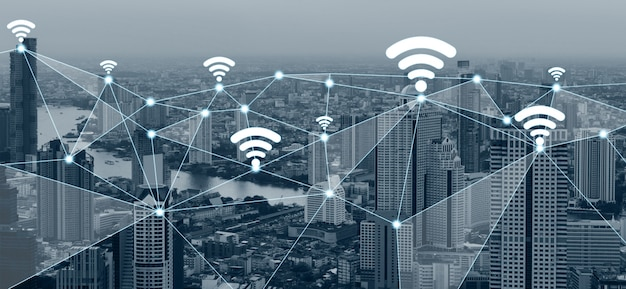 Moderne kreative kommunikation und internet-netzwerkverbindung in smart city